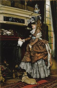 La Chemine by James Jacques Joseph Tissot  The detail in the costume is impeccable.  The rich have always lived differently.