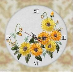 Ribbon-Embroidery-Kit-Unique-Sunflowers-Clock-Face-with-Clock-Movement-RE3064