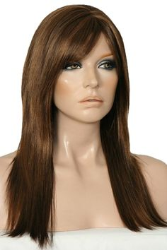 Jagged Edge wig is a stylish long razor layered shaggy straight haired wig by Flaunt for Forever Young. It features a centre skin top zig zag part with a fringe that can be worn straight or pushed to the side. The cap is an open wefted capless design making it light and easy to wear. The Jagged Edge measures 21 Inches /530mm in length from crown to tips.  Colour Shown P4/27 - Dark Brown Highlighted with Strawberry Blonde.  More colours available at www.wigsonline.com.au