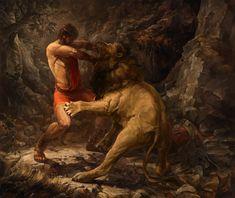 Hercules fight with the Nemean Lion., Yaroslav Radeckiy on ArtStation at https://www.artstation.com/artwork/rZPlE