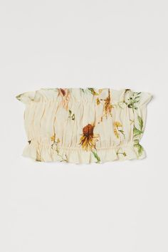 Gedrapeerde tubetop - Lichtgeel/bloemen - DAMES | H&M NL 3 Meadow Flowers, Wild Flowers, Summer Girls, Hot Girls, Tube Top, Coton Bio, No Frills, Print Design, Organic Cotton