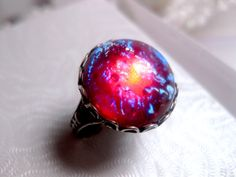 Round Dragon's Breath Opal Ring  Mexican by FashionCrashJewelry