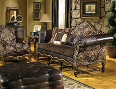 cool western style furniture custom sofa chair ottoman Bernadette Livingston Furniture is simply the best in luxury furniture and high end home furnishings. Western Style, Western Cowboy, Rustic Style, Rustic Decor, Luxury Furniture, Furniture Design, Furniture Ideas, Wood Furniture, Antique Furniture