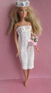 Mystique Wedding Dress for Barbie for Barbie doll or similar Double knit yarn mm needles Fabric flowers to embellish Ca. Crochet Wedding Dress Pattern, Crochet Wedding Dresses, Crochet Doll Dress, Crochet Barbie Clothes, Doll Clothes Barbie, Knitted Dolls, Crochet Barbie Patterns, Barbie Clothes Patterns, Doll Dress Patterns