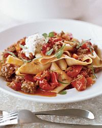 Pappardelle with Lamb Ragù from chef Andrew Carmellini features fresh ricotta and chopped mint.