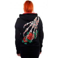Sugar Skull Red Roses Hoodie