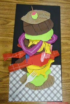 Pop art burgers with Oldenburg Kindergarten Art, Preschool Art, 2nd Grade Art, Middle School Art, High School, School Art Projects, Art Lessons Elementary, Art Lesson Plans, Art Classroom