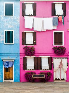 Bold in Burano, a Venetian island known for its bright colors and lace work.