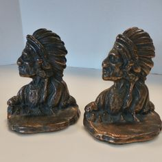 Pair of Vintage Copper Over Iron American Indian Chief Bookends