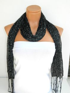 Latest Fashion Black bright sequined scarf by WomanStyleStore, $13.50