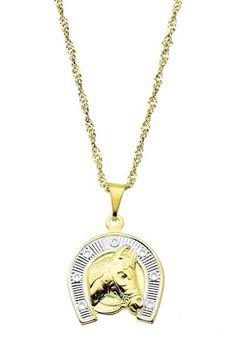 Gargantilha folheada a ouro c/ pingente em forma de ferradura e cavalo c/ aplique de prata (linha country) Código: G1264