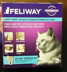 FELIWAY FELIWAY is a non-drug solution.which helps reduce the fear and stress in your cat. It does this by releasing a pheromone to comfort the cat in stressful situation.  FELIWAY may stop your cat from urine marking and scratching, help them adjust to new environments and help them get along with other cats in the house hold.