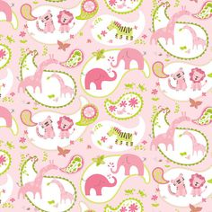 Animal Parade Flower Paisley Pink  by Ana by spiceberrycottage