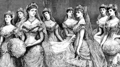 Victorian fashion, court presentation gowns, lovely young ladies coming out.