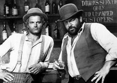 "Terence Hill y Bud Spencer en ""Trinity is still my name"", 1971. Punch yer way thru tha West"