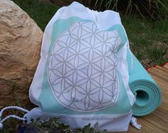 Flower of life festival backpack, Yoga drawstring bag, gym bag for girls, present for yogis, hipster cinch sack, unique psychedelic trans