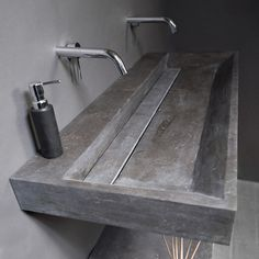 Natural Stone Top Basins create a stunning effect in any bathroom. Shop our range of Stone Bathroom Basins in marble, travertine & bluestone in different styles Bathroom Concrete Floor, Stone Bathroom Sink, Bathroom Sink Design, Bathroom Interior Design, Bathroom Designs, Modern Industrial Decor, Industrial Bathroom, Lavabo Design, Stone Basin