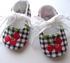 Red Cherries on Black and White Gingham , Pixie Toes Baby Shoes