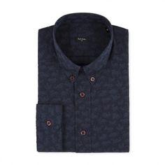 Paul Smith Men's Shirts | Navy Pixelated Animals Jacquard Button-Down Shirt