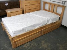 Night and Day Thyme Wood Platform Twin Bed with 2 Storage Drawers. Nightstand and Chest also available!