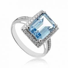 Inel din aur alb cu topaz si diamante C479