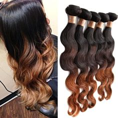 Ombre Human Hair Extension 3 Tone Color:1B/4/30# Body Wave 3Bundles Hair Hot #wigiss #HairExtension