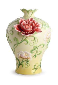 FZ02980 Franz Porcelain An Endless Life Peony Design Sculptured Vase Beautiful