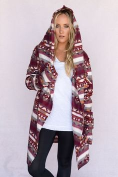 You wont't find a jacket cozier than this handcrafted thick Aztec printed yoga wrap. Oversized bohemian style, asymmetrical design with thumb holes and oversized fit. Cozy wrap handmade fleece jacket