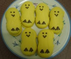 Take a Nutter butter cookie. Ice it with yellow. I use a candy corn for the beak. Use chocolate chips for eyes. Peep Peep! Eat up....Yummy!