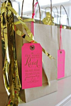 bags and hot pink tags / Wiley Valentine Pink Birthday Party Invitations via Oh So Beautiful Paper (7)
