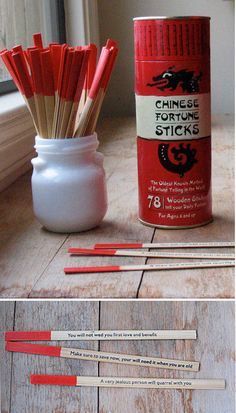 Chinese Fortune Sticks - Fun idea as a party favor. Can be purchased through Amazon for $ 9.99