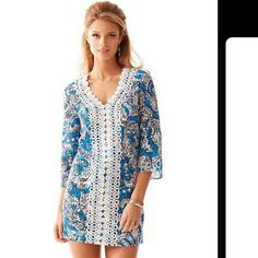 """LILLY PULITZER HIPPIE HIPPIE SHAPE BROOKE DRESS! Authentic LILLY PULITZER Ariel Blue Lace Front BROOKE Tunic Dress With Lace Front in """"HIPPIE HIPPIE"""" SHAKE Print! It is 100% Cotton. High Quality! It is a Size MEDIUM. IT IS BRAND NEW With the ORIGINAL LILLY TAG On it!  It is Retired, Discontinued, Rare and Hard To Find!  It RETAILS FOR $178!!! Lilly Pulitzer Dresses Midi"""