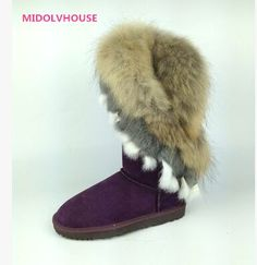 119.00$  Watch here - http://alivvh.worldwells.pw/go.php?t=32787265316 - MIDOLVHOUSE women fashion natural fox fur cow leather lady high snow boots  winter boots flats shoes  rabbit fur tassels edging