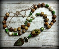 Böhmische Halskette, rustikalen braunen Achat Halskette, Keramik, Türkis, Knochen, Vintage Glas, Sprunganlage, handgefertigten Schmuck von Salakaappi