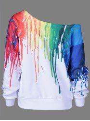 Paint Drip Design Skew Collar Sweatshirt - WHITE L