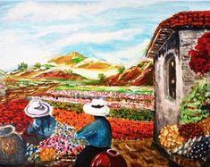 "Oil painting ""Two Florists"" New Original Canvas x size Signet Peruvian Art Impressionism Landscape Peruvian Art, 8th Grade Art, South American Art, People Art, Figure Painting, Impressionism, Landscape Paintings, Artwork, Oil"