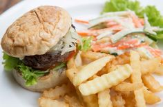 Beef Burger, Grilled Beef Burger with tomato, cucumber, sauteed onion and melted cheese, comes with fries