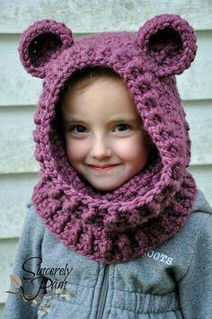 Ideas Crochet Kids Scarf Pattern Hooded Cowl For 2019 Crochet Kids Scarf, Crochet Baby Hats, Crochet Beanie, Knit Or Crochet, Crochet Scarves, Crochet For Kids, Crochet Crafts, Crochet Clothes, Crochet Projects