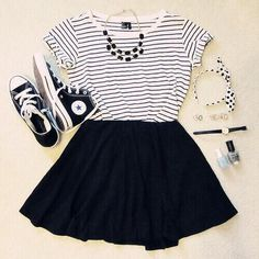 7c1653d32b Love This Outfit. Black and White All the Way Outfits With Skater Skirts