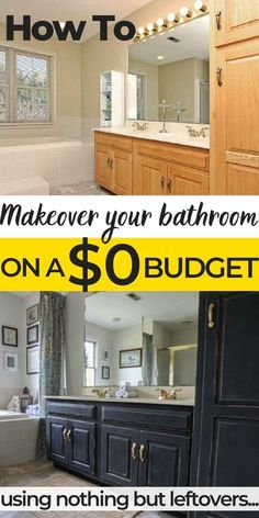 Got an outdated bathroom but no budget to renovate? Check out our $0 makeover, using nothing but household leftovers! Come see this $0 bath makeover using nothing but leftovers NOW! #bathroomremodel #bathroomideas #bathroomideasonabudget #bathroomideassimple #freebathroommakeover #bathroomremodelonabudget #bathroomremodelcheap #DIYbathroom #bathroombeforeandafter #bathroomrenovationonabudget #bathroomrenovationcheap #bathroomremodelonabudgetDIY #bathroomdecorideasonabudget