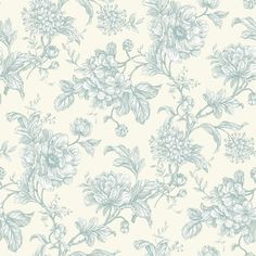 Aquitaine  (AQUITAINE EAU DE NIL) - iliv Wallpapers - An elegant wallpaper featuring an all over, floral trailing design. Shown here in off white and pale blue. Other colourways are available. Please request a sample for a true colour match.
