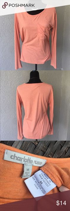 """🆕Charlotte Russe burnt orange long sleeve tee Charlotte Russe long sleeve tshirt in a burnt orange color with a large pocket on the left breast. Light weight material. EUC no stains or snags Bust 20"""" length 25"""" ✅I ship same or next day ✅Bundle for discount Charlotte Russe Tops Tees - Long Sleeve"""