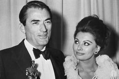 "Best Actor Gregory Peck (""To Kill a Mockingbird"") with presenter Sophia Loren at the 35th Academy Awards"