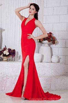 Zipper Split Floor-length A-line Court Chiffon Sleeveless V-neck/Halter Train Red Natural Classic/Timeless Evening Dress