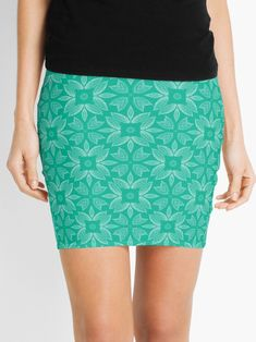 """Mint Leaf #1"" Mini Skirt by Kettukas 