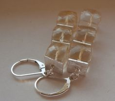 Citrine triple cube earrings with 925 silver ear wires. £22.00