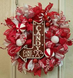 On Sale > Candy Cane Wreath, Light Up Wreath, Christmas Wreath, Candy Cane Decor, Christmas Decor, Front Door Wreath, Christmas Door Wreath by SouthTXCreations on Etsy