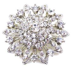 Brooches Store Silver and Crystal Vintage Bridal Flower Brooch - Gift Boxed