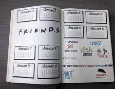 friends inspired bullet journal layout Friends tv show inspired bullet journal layouts and theme for inpiration for your next bullet journal theme! Bullet Journal Tv Series, Bullet Journal Netflix, February Bullet Journal, Bullet Journal Notebook, Bullet Journal Aesthetic, Bullet Journal Inspo, Bullet Journal Spread, Bullet Journal Entries, Monthly Bullet Journal Layout