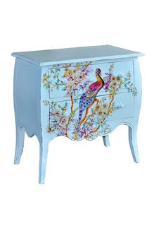 Another #Blue #Antique piece of #furniture ~ love the peacock!!.